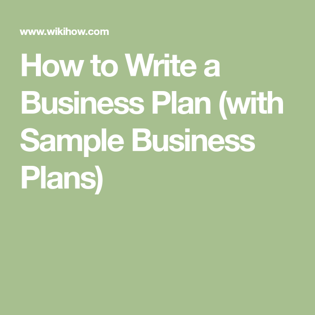 Write A Business Plan  Business Planning