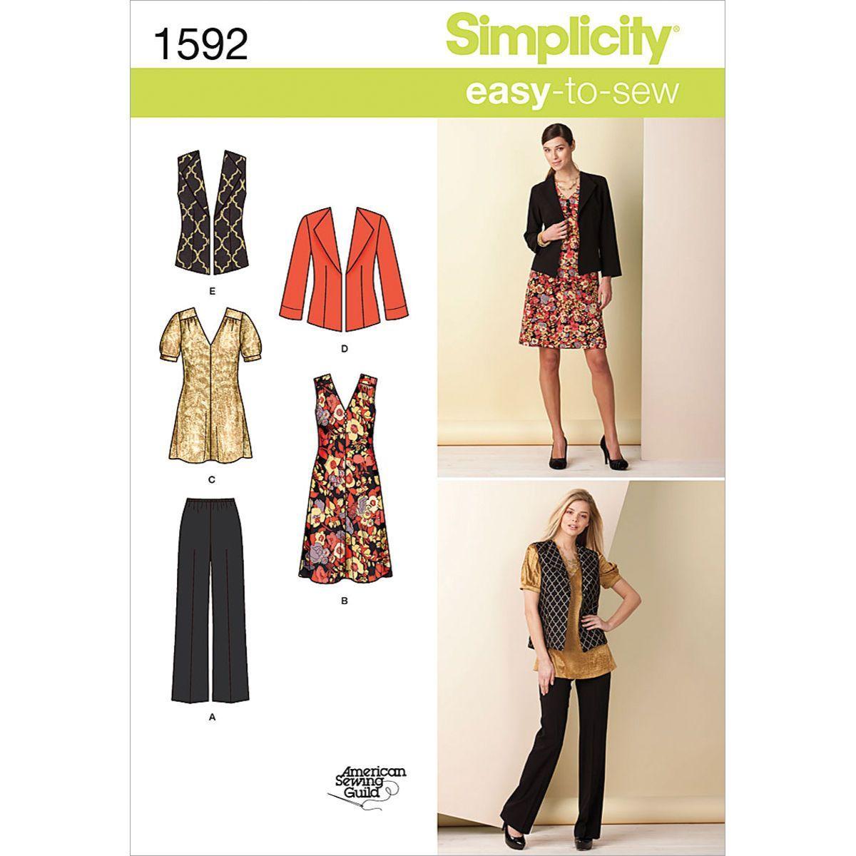 Simplicity Pattern 1592 Ms EZ Pants Dress or Tunic /& Jacket or Vest