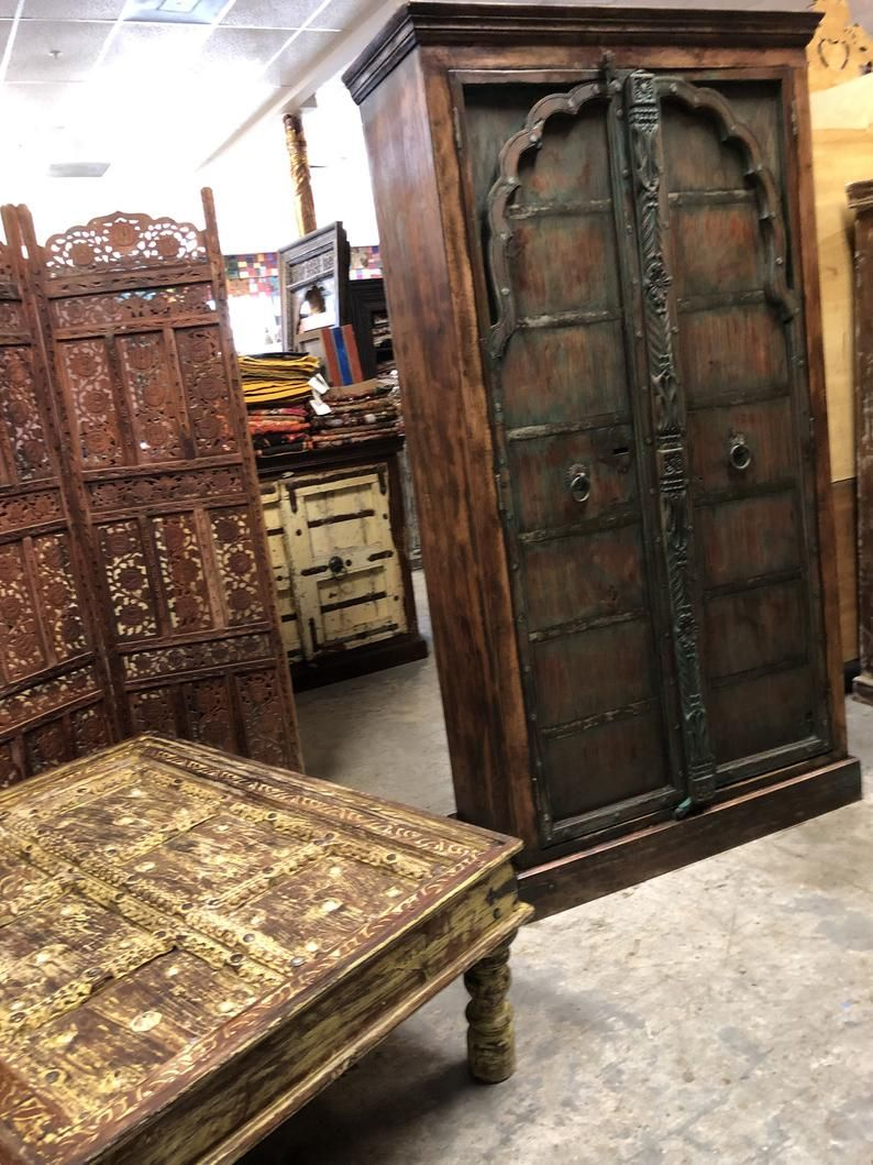 Antique Arched Door Cabinet Indian Handcarved Huge Rustic Etsy Antique Armoire Wooden Armoire Distressed Wood Furniture