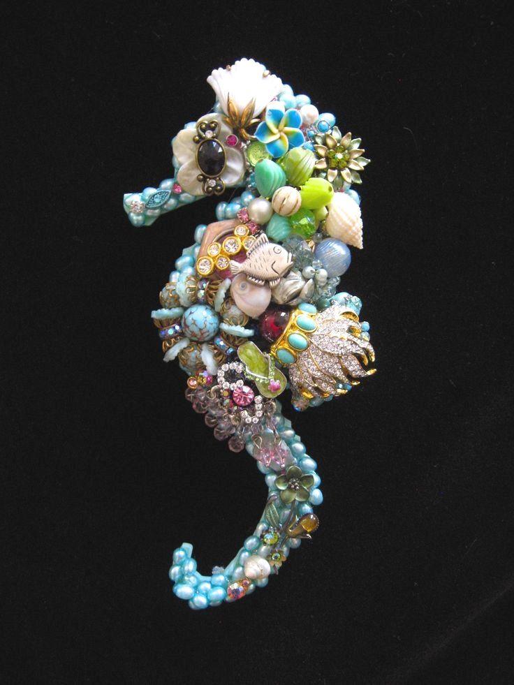 Sami Seahorse. Vintage Jewelry Wall Art. Jewelry mosaic ...