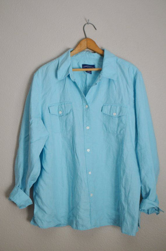 0f41bdf28 vintage 90s light turquoise blue linen long sleeve button down blouse --  womens xlarge-- size 18-- o