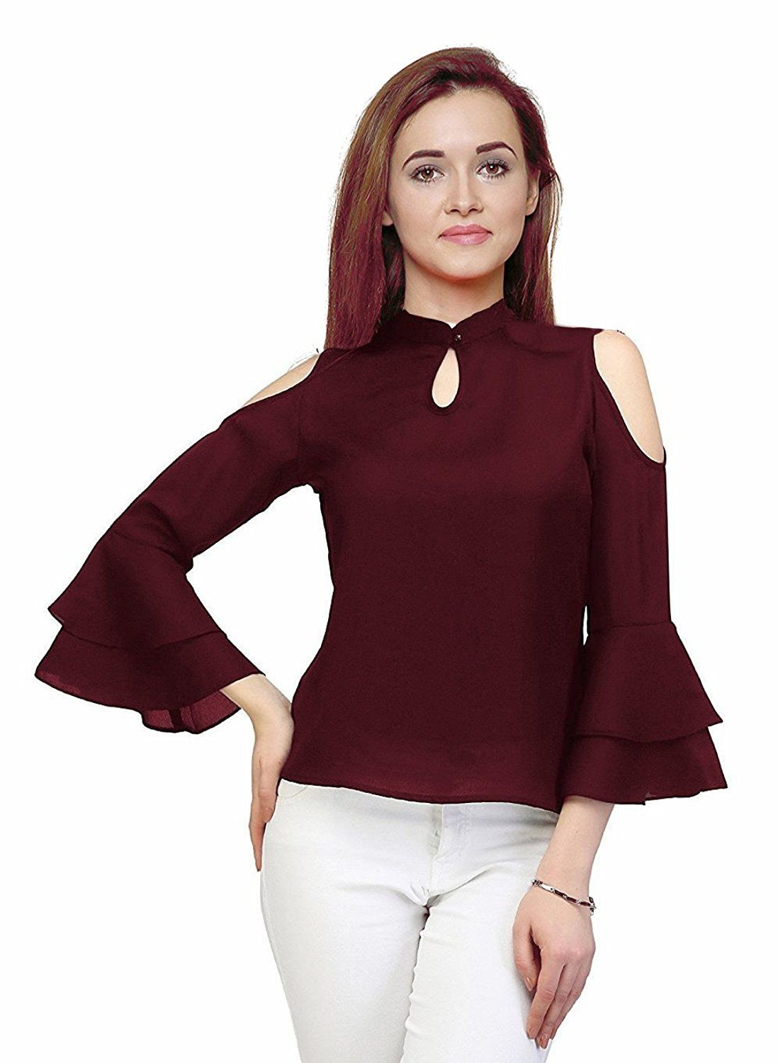 ba4200ff07fa5b Buy western top for women that is cold shoulder sleeve with design in  maroon colour. Variety of tops are available in all sizes for girls and  women.