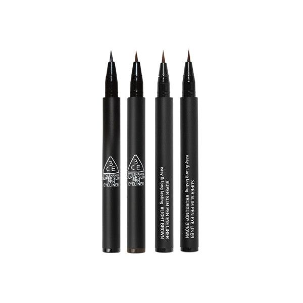 3CE SUPER SLIM PEN EYE LINER ($13) via Polyvore featuring beauty products, makeup, eye makeup y eyeliner
