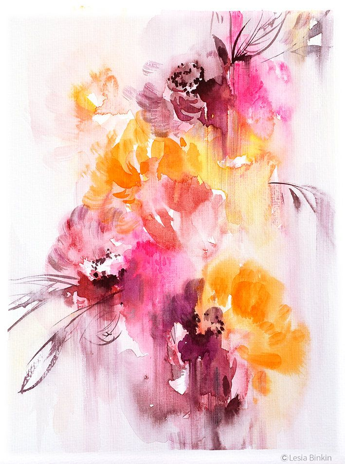 Sun And Air Watercolor Flower Print Abstract Floral Canvas Wall