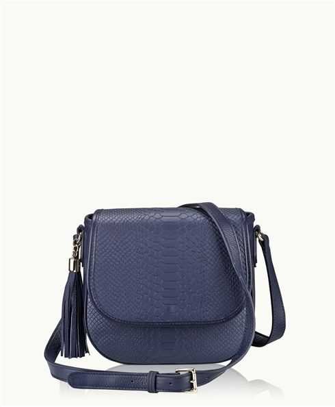 f0b2ec65f94d Navy Kelly Saddle Bag Embossed Python Leather