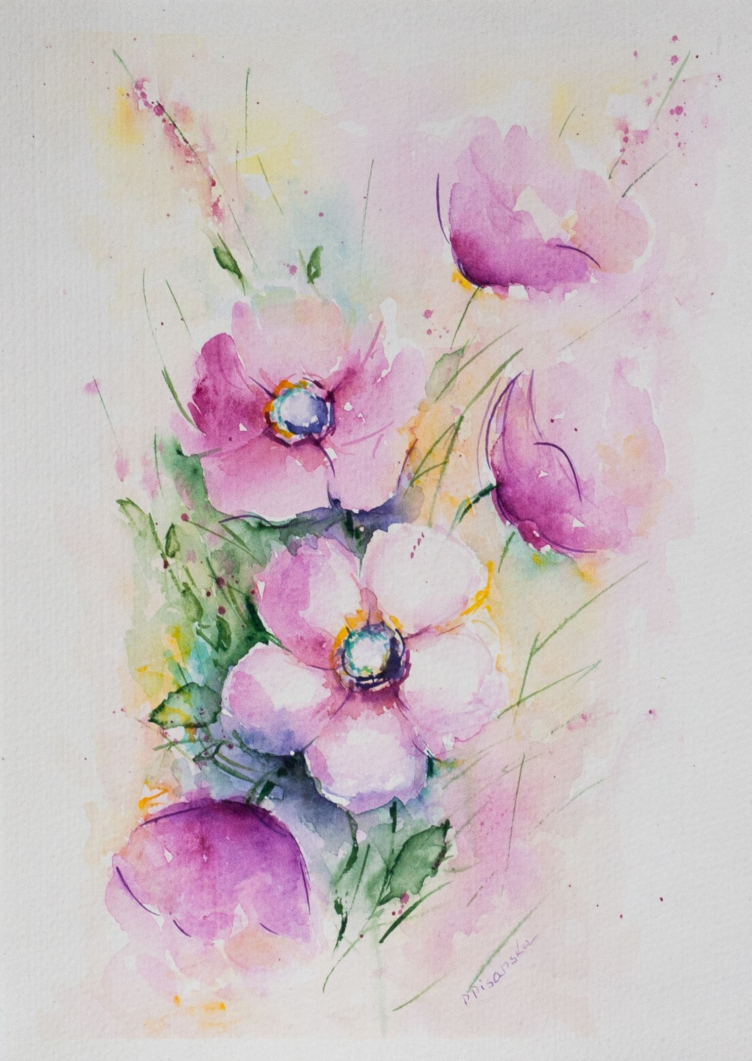 Watercolor Flowers Watercolor Flowers Pink Flower Painting