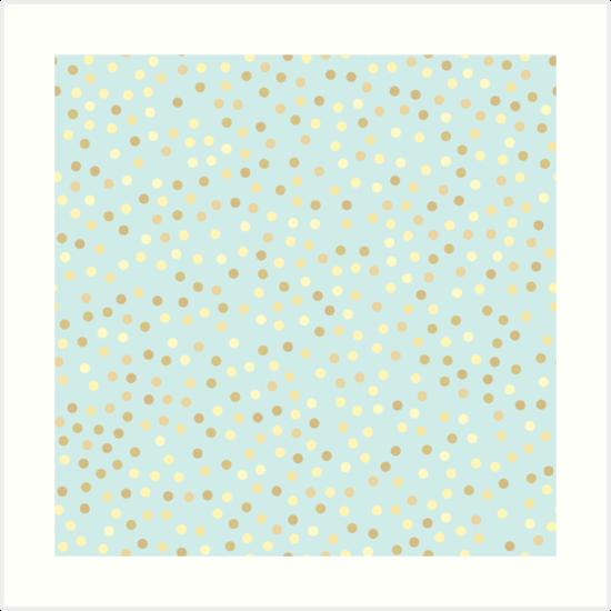 Gold Polka Dots Baby Blue Background Art Print By Newburyboutique Polka Dot Art Baby Blue Background Gold Polka Dots