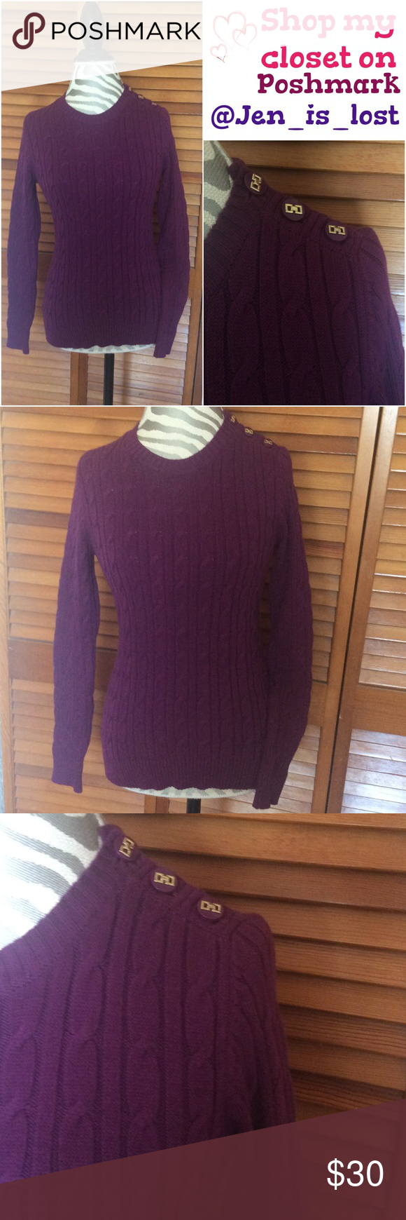 "🎄BOGO 50% OFF🎄 Cable Sweater P/S Cotton/nylon/metallic Machine wash. Crew neckline Pullover style Long sleeves; button detail at shoulder Cable-knit Easy fit.  Color is Napa Vineyard.  Measures 16"" across the bust (with stretch) and is 24"" in length. Charter Club Sweaters"