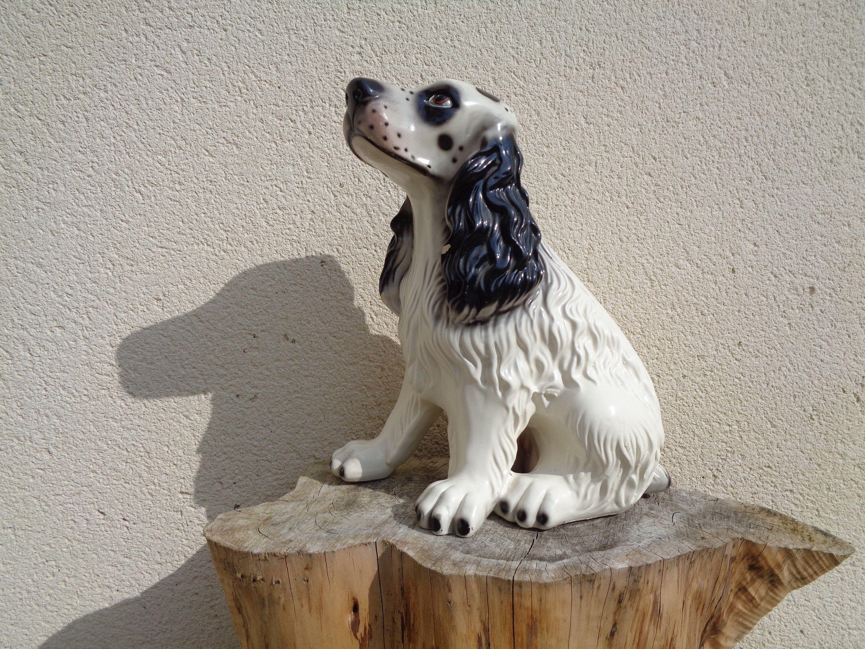 Grand Cocker En Céramique Statue De Chien En Faïence Chien