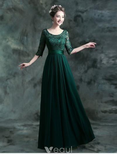 Modest Lange Spitze Abendkleid Dunkelgrünes Festliche Kleid Mit Ärmeln Kleid  Mit Ärmel, Grünes Kleid, c50eeb2326