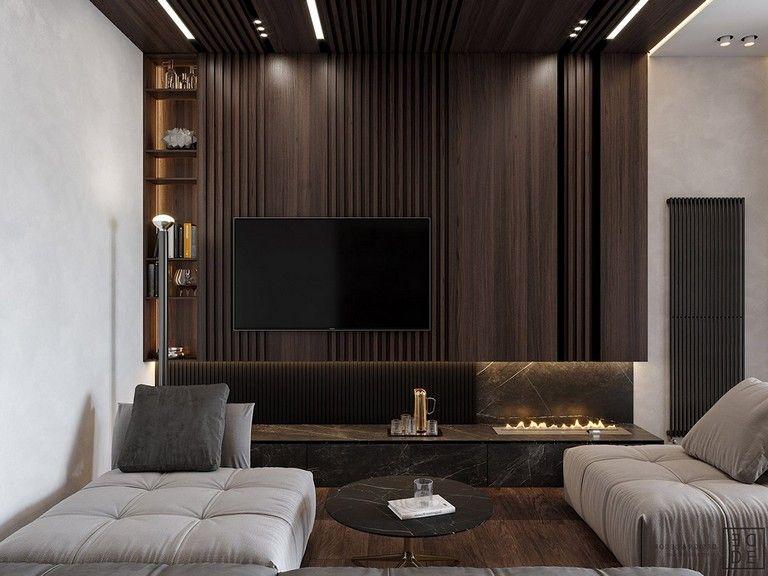 35 Deluxe Interior Design Ideas With Wood Slat Walls Luxury Interior Interior Wall Design Living Room Tv