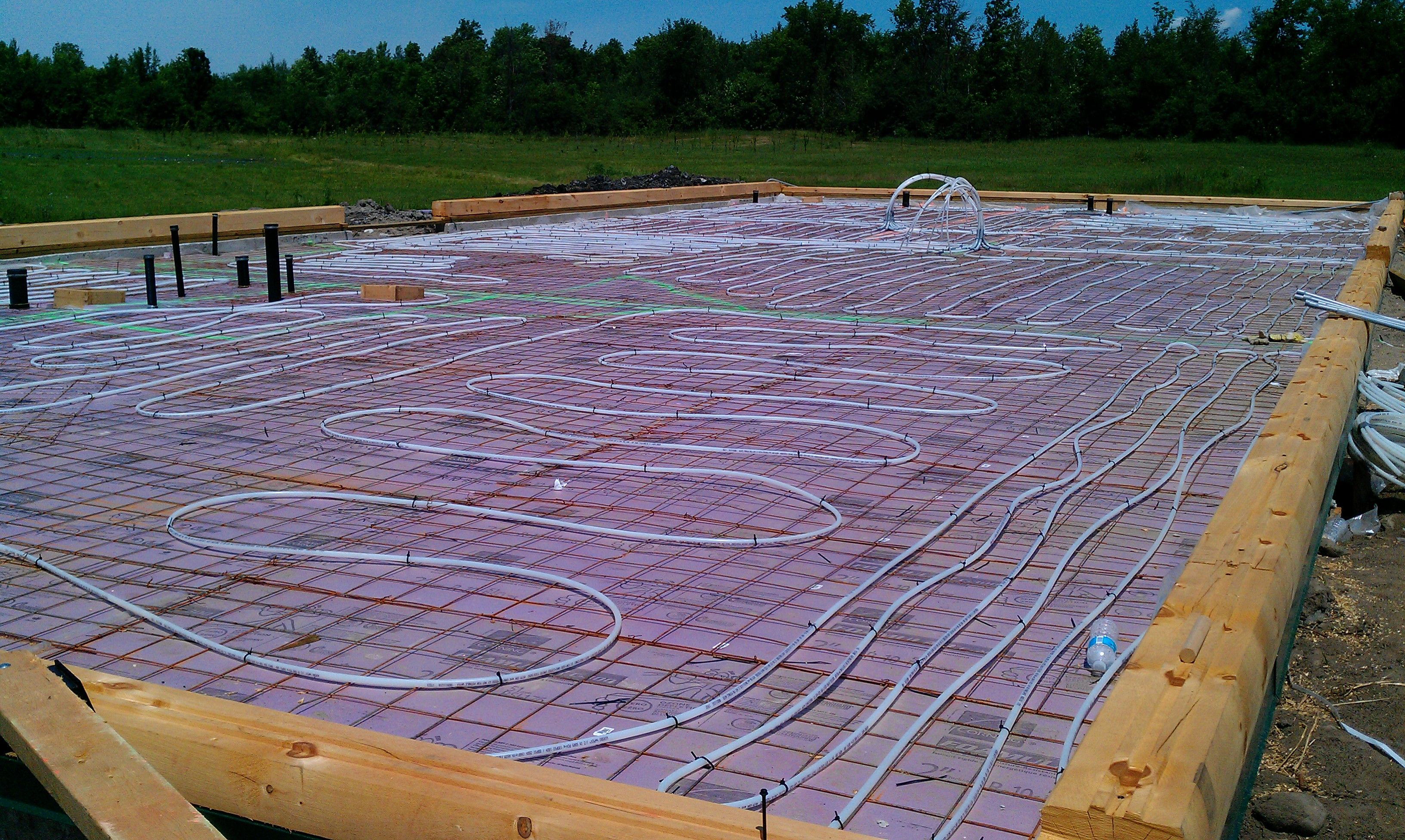 Radiant Floor Heating Lines For This Log Home In Ontario