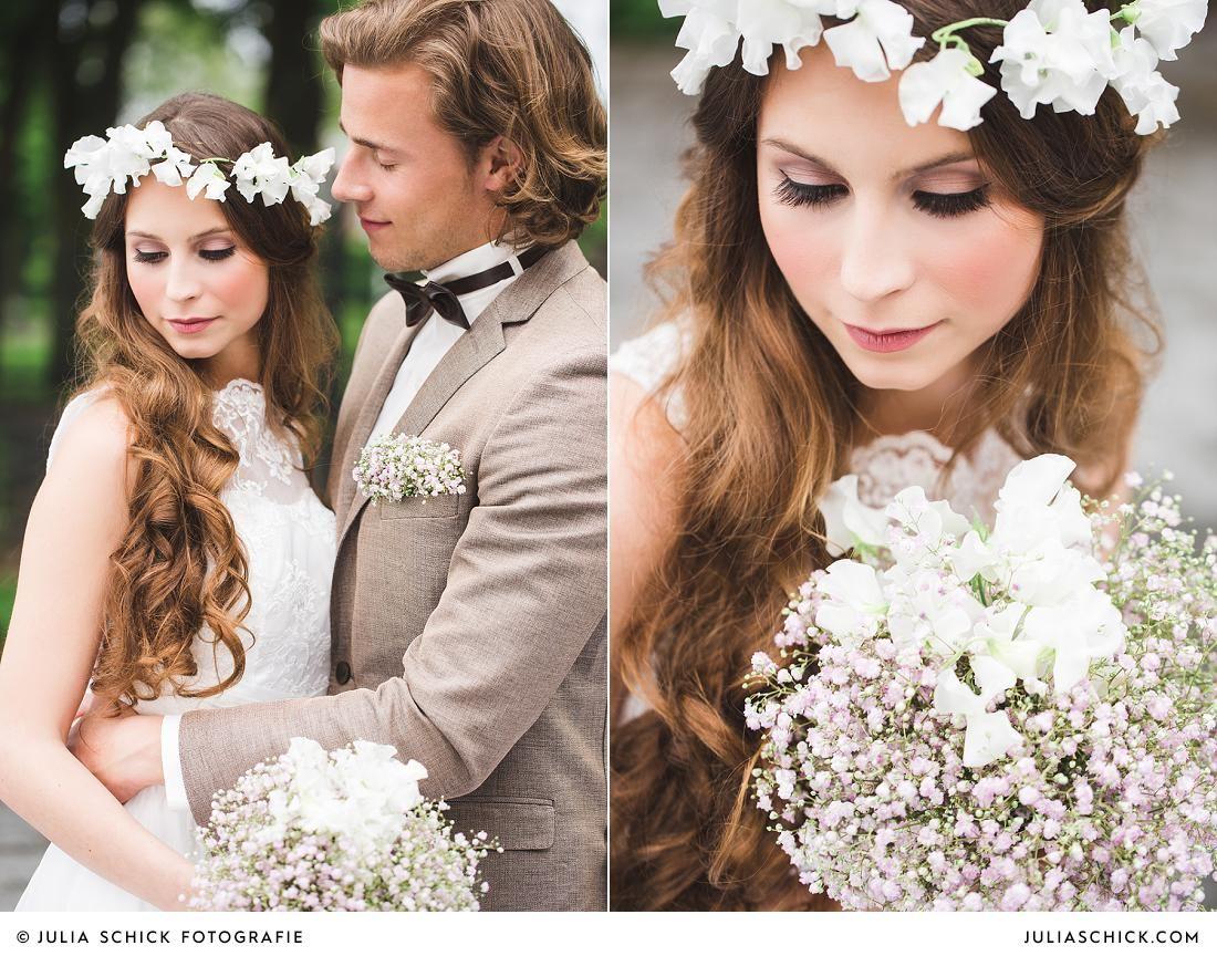 Vintage Braut mit Blumenkranz und Brautstrauß aus Schleierkraut auf ...