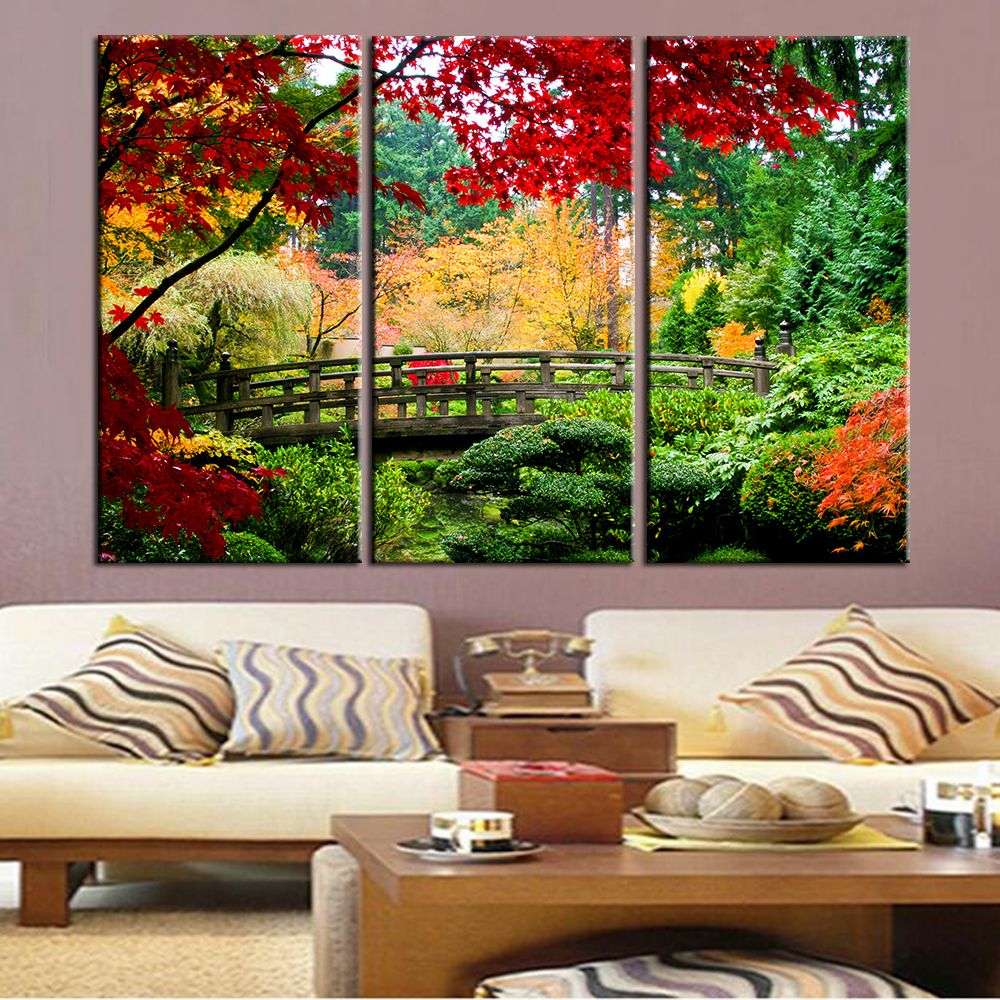 bridge scene wall art canvas painting landscape wall art on wall art for home id=89354