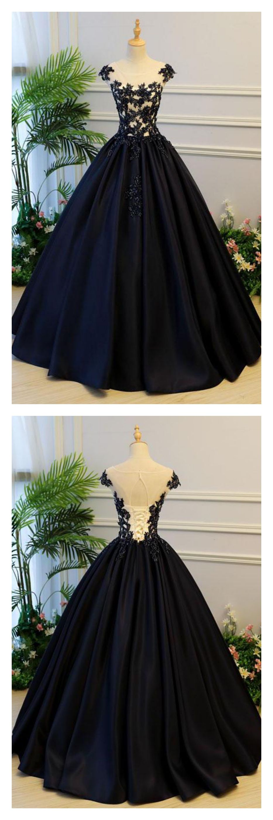 Navy blue floor length prom ball gown with appliquelace ed in