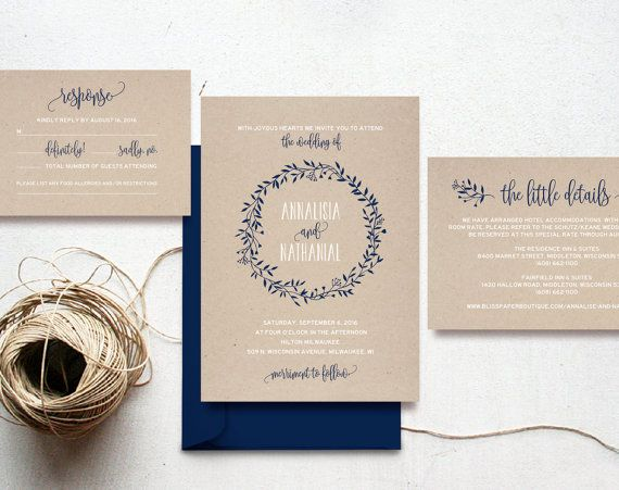 Cheap Rustic Wedding Invitations: Wreath Wedding Invitation Template Navy Blue By