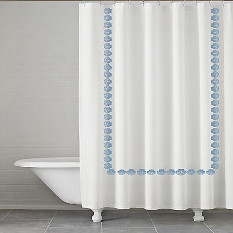 Kassatex Trinidad Embroidered Shower Curtain In White Blue