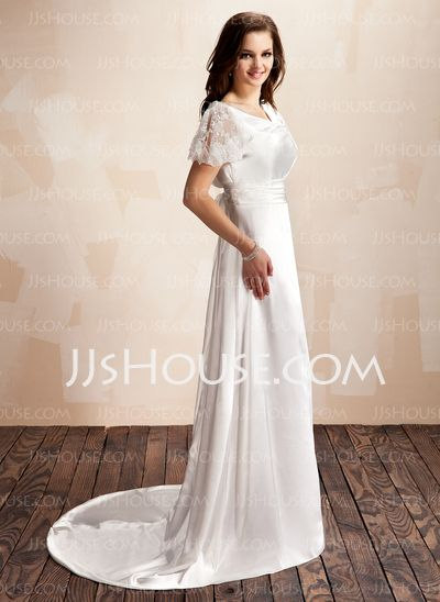 A-Line/Princess Cowl Neck Court Train Charmeuse Lace Wedding Dress With Ruffle (002012560)