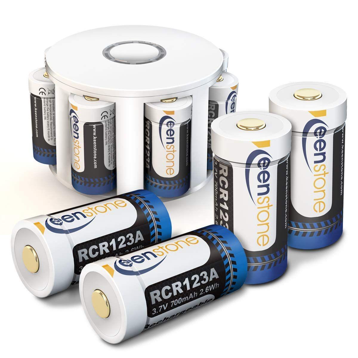 Rcr123a Batterie Rechargeable Pour Arlo Camera Keenstone Batterie Li Ion 3 7v 700mah Chargeur Avec 8 Compartiment 2 Batterie Rechargeable Chargeur Batterie