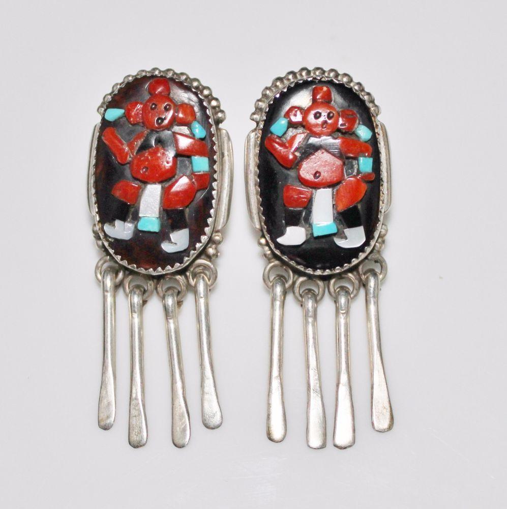 Vntg ZUNI Augustine & Rosalie Pinto Raised Mosaic Coral Mudhead Kachina Earrings