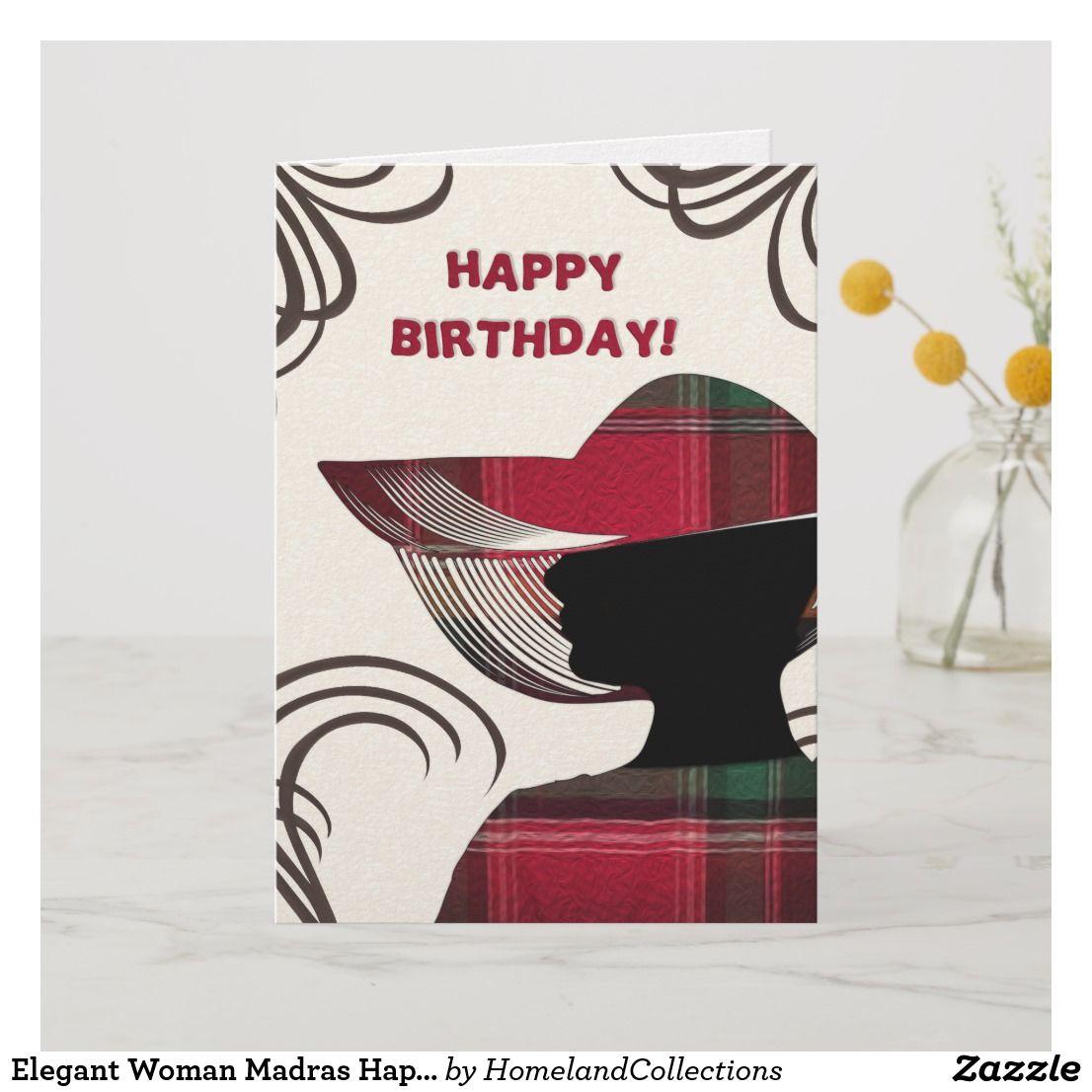 Elegant Woman Madras Happy Birthday Greeting Card