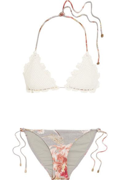 4f7079fc50581 Zimmermann - Mercer Crocheted Cotton And Stretch-jersey Triangle Bikini -  White