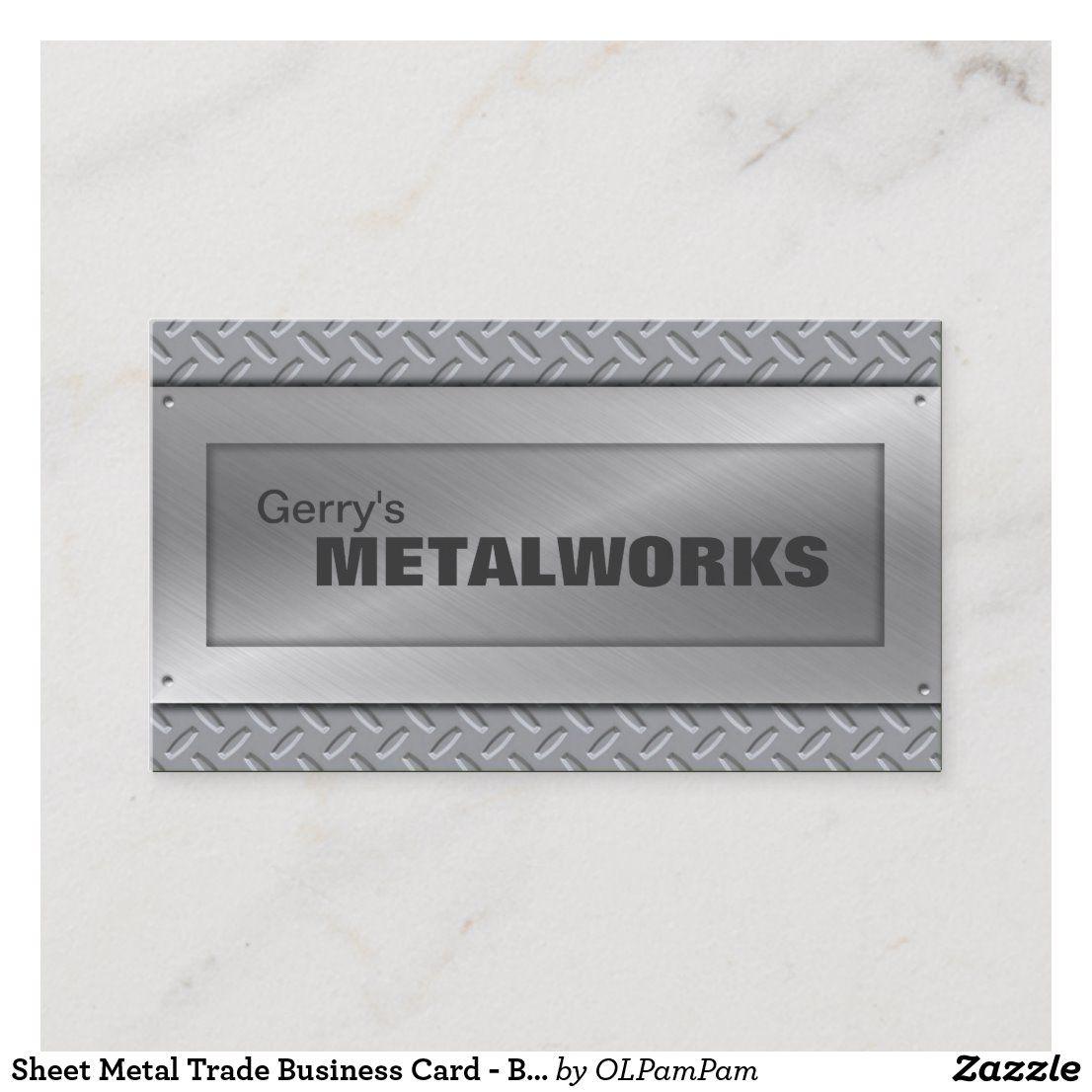 Sheet Metal Trade Business Card Black Silver Zazzle Com Business Card Black Black Business Card Black Silver