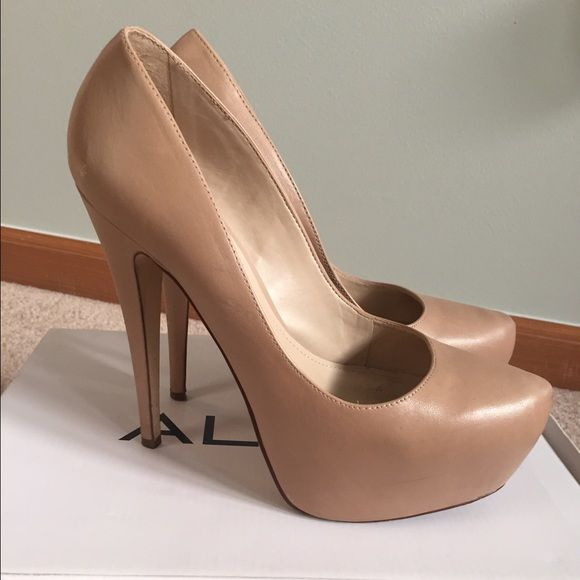 Nude Aldo Mawusi pumps These are classic pumps that go with basically  anything ! Heel height is approx 5 and inches . The platform makes them  more ...