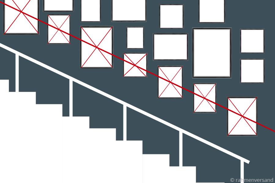 Die Kantenhängung für Bilder an der Treppe
