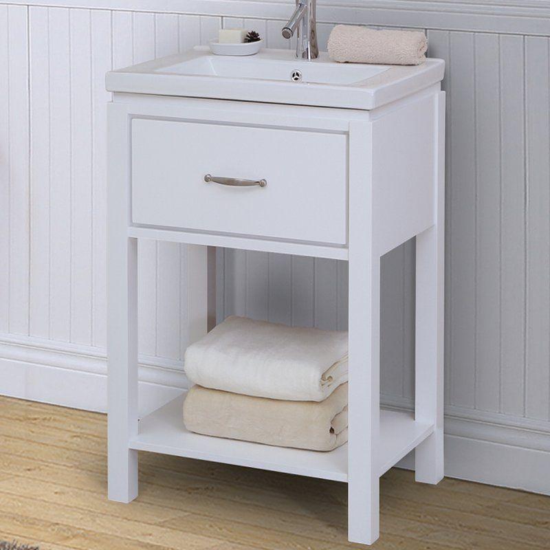 24 Single Bathroom Vanity Set With Open Shelf Single Bathroom