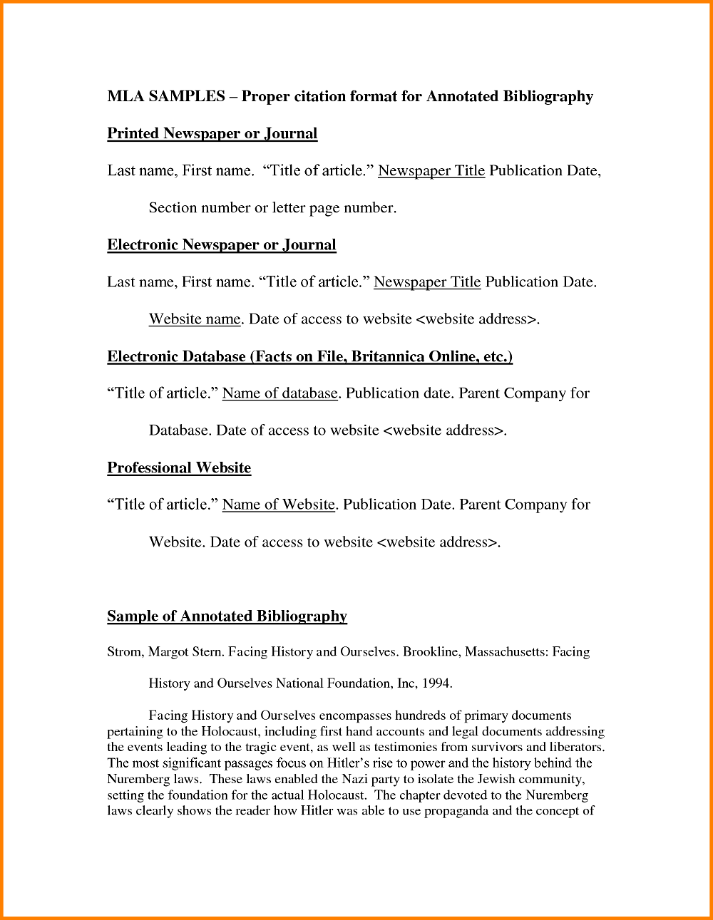 Annotated Bibliography Template Mla Annotated Bibliography Template Bibliography Template Annotated Bibliography
