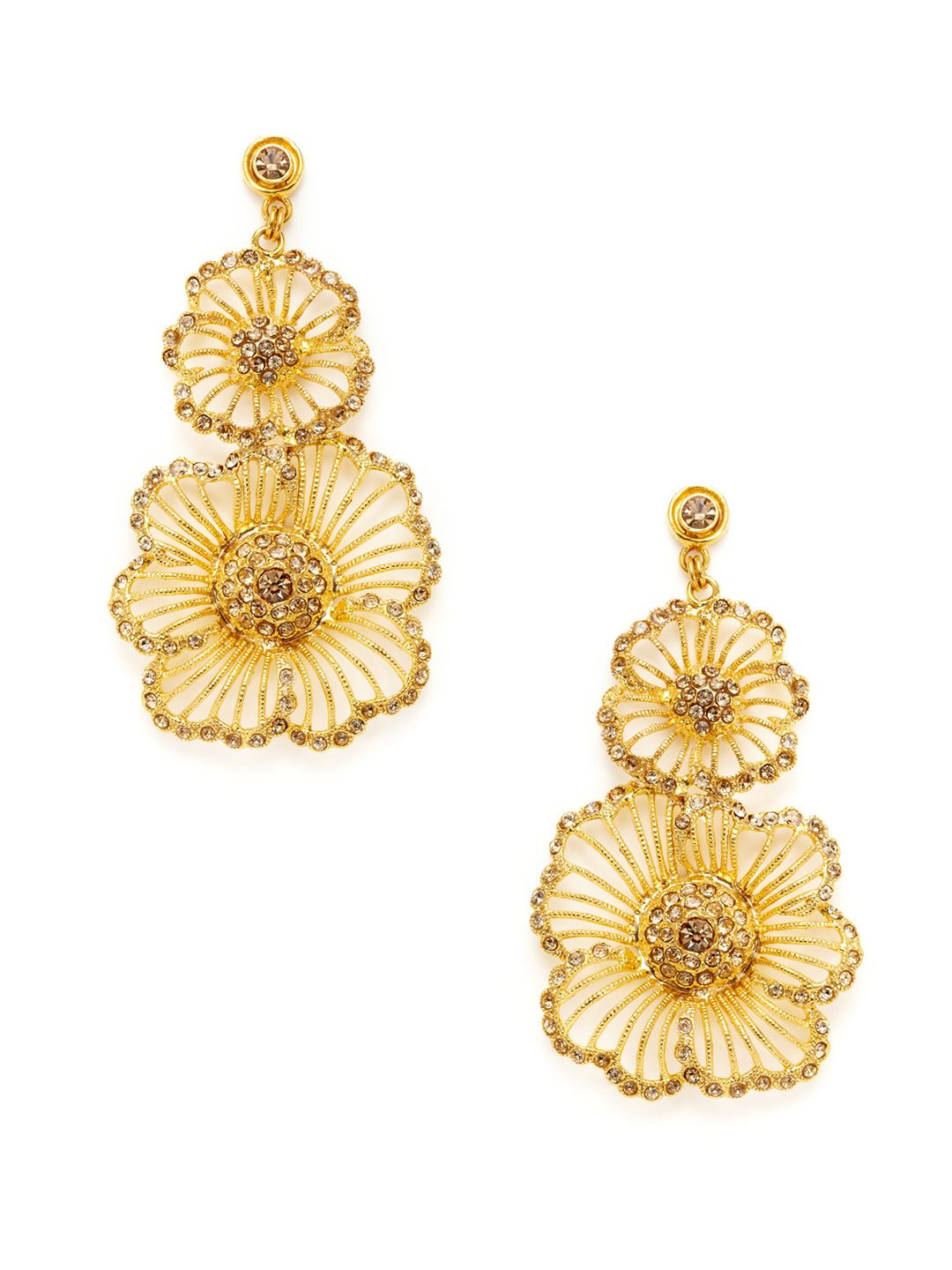 03e2c47ed Gold Double Flower Drop Earrings by Azaara Vintage at Gilt | Just ...