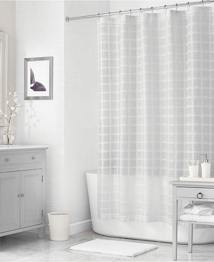 . Martha Stewart Collection 72  x 72  Woven Check Shower Curtain