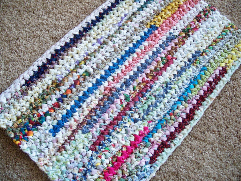 Sold Rectangle Crocheted Rag Rug 35 00 Via Etsy