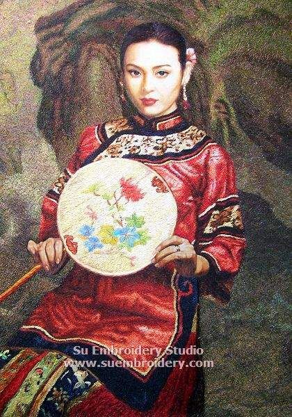 Chinese Lady, Suzhou silk embroidery art, hand embroidered painting with silk threads by embroidery artists in Suzhou China Su Embroidery Studio
