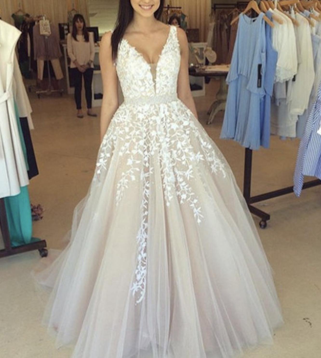 White v neck lace long prom dress for teens modest prom dress long