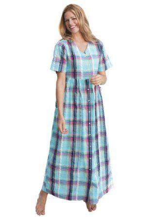 8768b8da49d ... Shop women fashion accessories and clothes. Only Necessities Plus Size  Petite Seersucker Snap-Front Lounger (Aqua Plaid