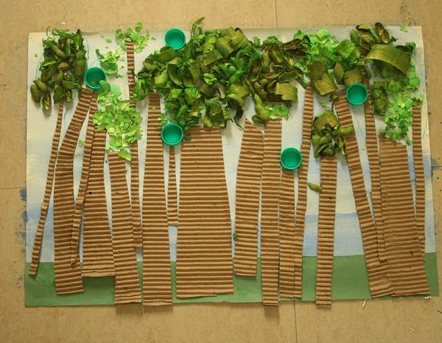 Image result for child's collage of tree using leaves