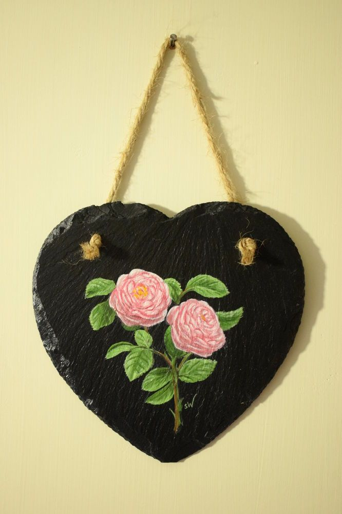 Pink Rose Hand Painted Slate Wall Art Decoration, Heart Shaped ...