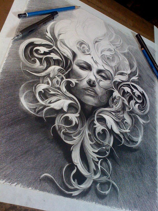 Pencil drawing by tattoo artist carlos torres