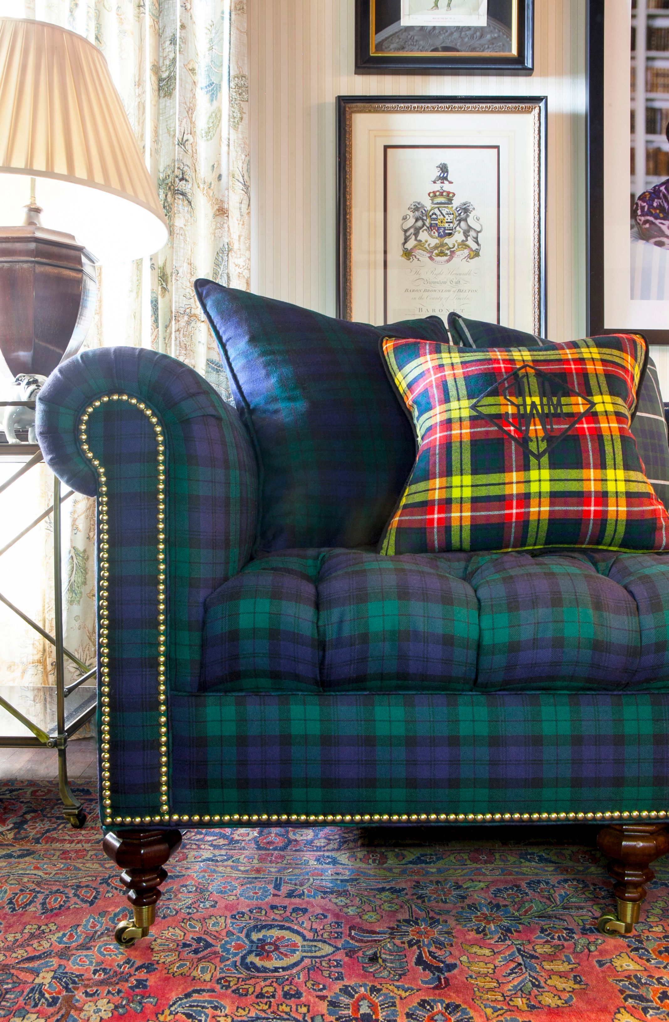 Buy Inverness Sofa in Blackwatch Tartan by Scot Meacham Wood