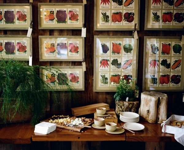 using antique seed packets as backdrop displays // photo by AshImagery.com