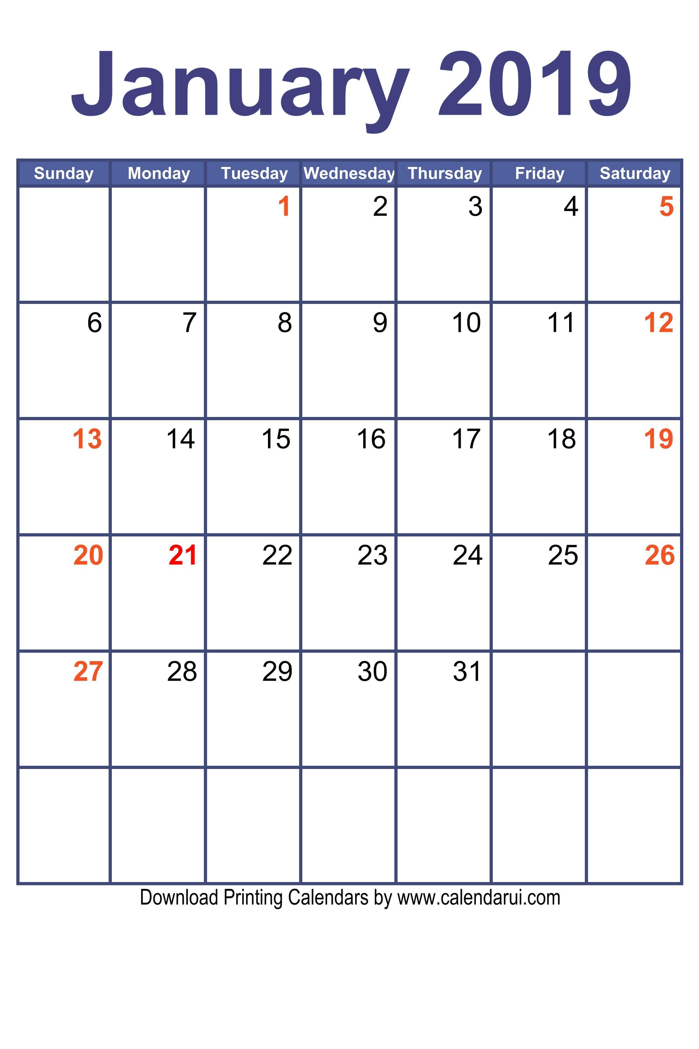 Blank Calendar January 2019 Printable Free PDF Format