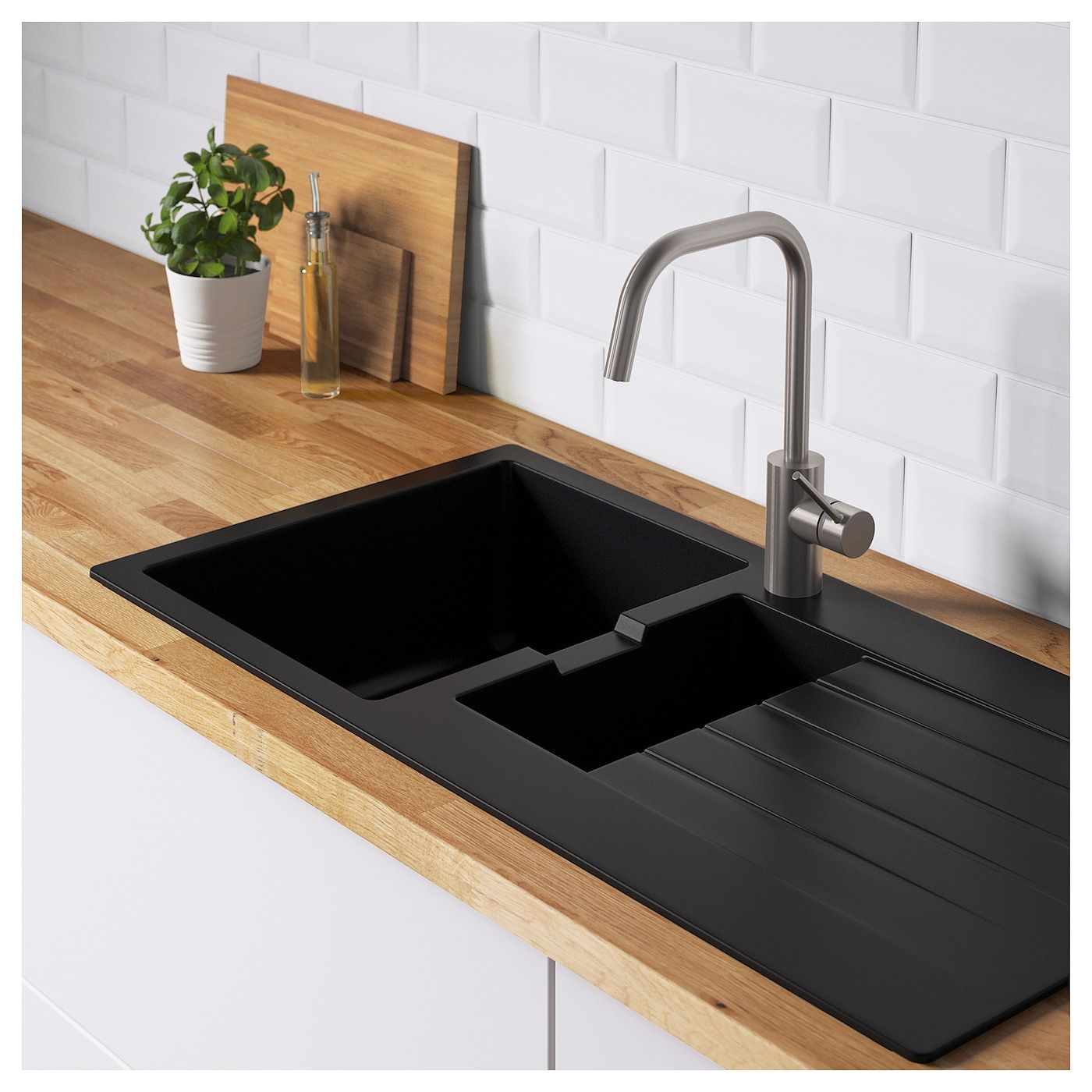 HÄllviken Indbygningsvask 1½ Vask Afløbspl Sort Quartzkomposit Ikea Spülbecken Design Schwarze Spüle Einbauspüle