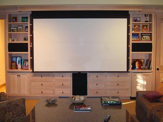 Projection Screen In Front Of Bookshelves Google Search Home Theater Rooms Small Home Theaters Home