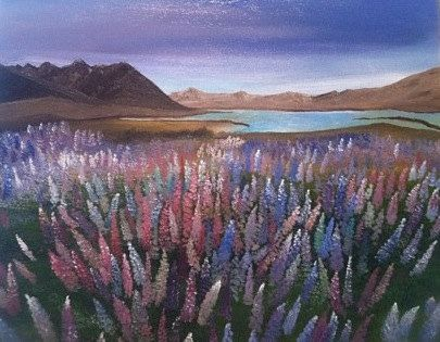 """Oil Painting """"Lupin Fields"""". $100.00, via Etsy."""