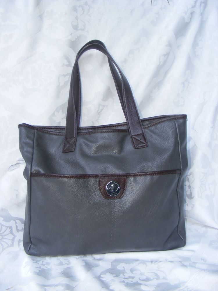 "TOMMY HILFIGER Tote, Gray & Brown Pebble finish Large Shopper L14"" Ht11"" D5"" #TommyHilfiger #TotesShoppers"