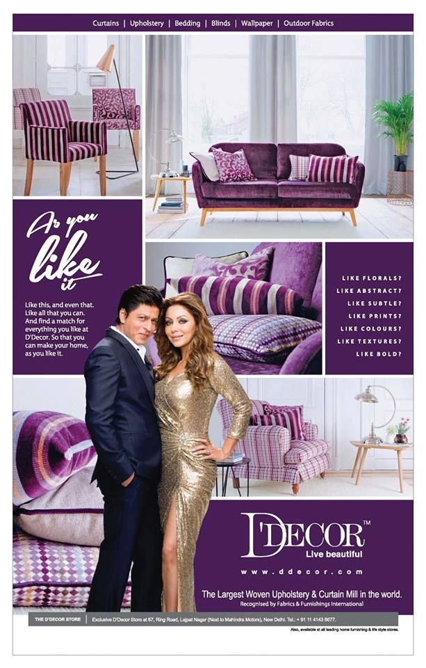D Decor Oct 2015 Shahrukh With Gauri Outdoor Fabric Living