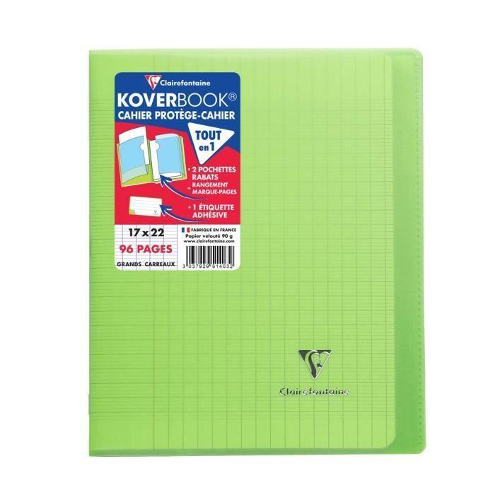 CLAIREFONTAINE – Carnet de couture à rabats KOVERBOOK – 17 x 22 – 96 pages Seyès – Couverture en polypropylène translucide – Vert   – Products