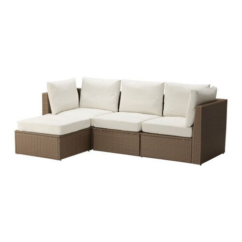 Leather Sectional Sofa ARHOLMA sofa with footstool outdoor beige brown Depth cm Width right cm Width left cm